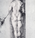 Durer Rear View Of A Female Nude Holding A Cap