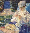 frieseke sewing in the garden c1915
