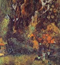 Gauguin Huts Under Trees