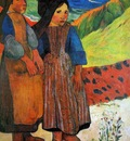 Gauguin Paul Two Breton girls Sun