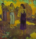 Gauguin Three Tahitian Women Against A Yellow Background