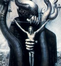h r giger no 324 satan 1 acrylic on paper on wood 100x70cm