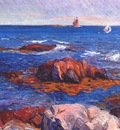 glackens rocks and lighhouse c1908