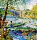 Gogh van Vincent Fisher and boats at Pont de Clichy Sun