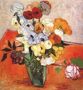 van gogh japanese vase with roses and anemones