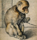 Goltzius Hendrick Monkey chained Sun