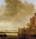 Goyen van Jan River landscape with tower Sun