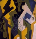 Gris Harlequin at a table, 1919, 101x65 cm, Morton G  Neuman