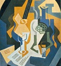 Gris Still Life with Fruit Dish and Mandolin, 92x65 cm, Priv