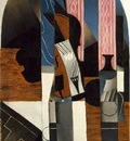 gris untitled violin and ink bottle on a table , 1913, 89