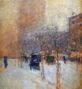 Hassam Childe Winter evening New York Sun