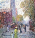 hassam cathedral spires, spring c1900