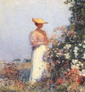hassam lady in flower garden c1891