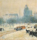 hassam winter in union square c1892