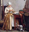 Hendriks Wybrand Interior with sowing woman Sun