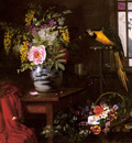Hermansen Olaf August A Still Life With Vase Basket And Parrot
