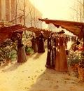 Hoermann Theodor von Marche Aux Fleurs A La Madeleine Avec Plantes Potageres