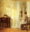Holsoe Carl Vilhelm Danish 1863 to 1935 Waiting By The Window O C 73 by 66 7cm