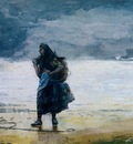 Homer Fisherwoman, prob 1882, Watercolor, 36 8x53 3 cm, Mr