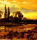 Hooper John Horace SunSet A Figure Feeding Geese In A Marsh