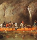 Hopkins, Frances Anne Canoes Manned by Voyageurs Passing a Waterfall end
