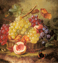 Kaercher Amalie A Still Life With Grapes Peaches And A Butterfly On A Mossy Bank