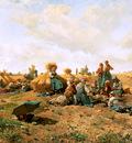 Knight Daniel Ridgway Peasants lunching in a field Sun