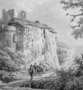 Koekkoek Barend C Castle in mountainous landscape Sun