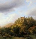 Koekkoek Barend C Landscape in Luxemburg castle Fels Sun