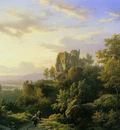 Koekkoek Barend C Rijn landscape Sun