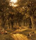 Koekkoek Hendrik Barend Peasants Preparing A Meal Near A Wooded Path