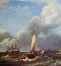 Koekkoek Hermanus sr Ships at storm Zeeland Sun