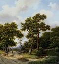 Koekkoek Marinus Strollers on forest path Sun