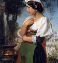 Maris Jacobus Italian girl at a fountain Sun