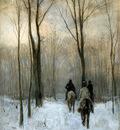 Mauve Anton Horsemen in the snow Sun