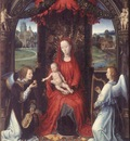 MEMLING MADONNA ENTHRONED WITH CHILD AND TWO ANGELS, UFFIZI