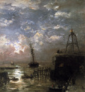 Mesdag Hendrik Willem Jetty at Vlissingen in Moonlight Sun