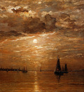 Mesdag Hendrik Willem Moon over sea Sun