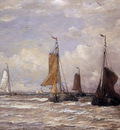 Mesdag Hendrik Willem Sailing Boats Sun