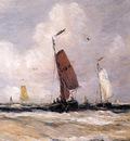 mesdag hendrik willem sea with fishingboats sun