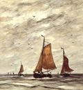 Mesdag Hendrik Willem Ships at sea Sun