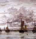 Mesdag Willem Hendrik Ships on anchor Sun