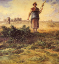 Millet Jean Francois A Shepherdess And Her Flock