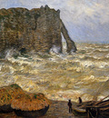 Monet Claud Choppy sea at Erretat Sun