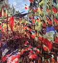 Monet Claude Rue Saint Denis feast Sun