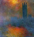 Monet Houses of Parliament, London, Sun Breaking Through the Fog
