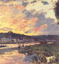 Monet The Seine at Bougival in the Evening