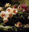 Mortelmans Frans Fresh roses in a basket on ledge Sun