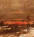 Munkacsy Mihaly A Winter Landscape At Sunset