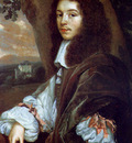 Mytens Jan Portrait of Christaen Huygens in a landscape a country house beyond
